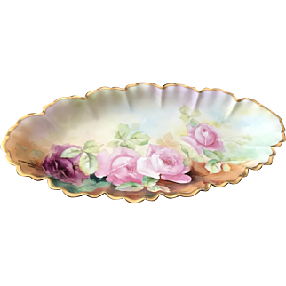 Signed Celery Tray with Roses, Haviland Limoges, D'Arcy Art Studio, 1894-1931