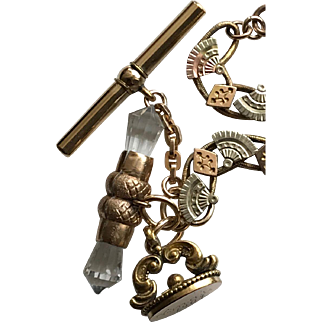 Rock Crystal Tbar, 1904 Wax Seal Fob on a Tri-GoldFilled Book Chain Bracelet