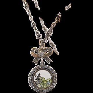 Sterling Silver Edwardian Paste Shaker Locket with Peridot Gemstones