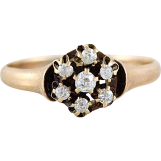 Antique Rose Cut Diamond Ring 10k Yellow Gold Size 8 1/4 Victorian Ring