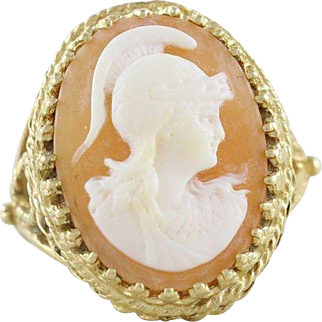 Cameo Soldier Ring 14k Yellow Gold Size 8 1/4 Bold Statement Ring