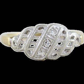 Diamond Ring 14k Yellow and White Gold Late Art Deco Era Size 6 1/2