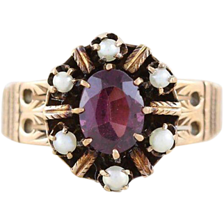 Antique Garnet and Seed Pearl Ring 10k Yellow Gold Size 5 3/4 Victorian Ring