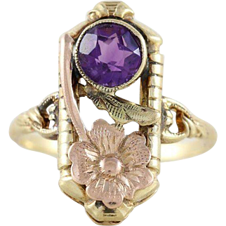 Antique Purple Amethyst with Rose Gold Flower Ring 10k Yellow Gold Size 5 1/4