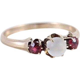 Antique 10k Yellow Gold Moonstone and Pink Tourmaline Ring Size 8 1/2