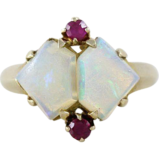 Opal and Ruby Ring 10k Yellow Gold  Size 4 3/4 Vintage Ring