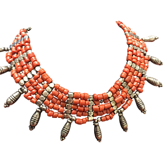 Tribal Silver and Natural Coral Necklace. Circa 1970's.