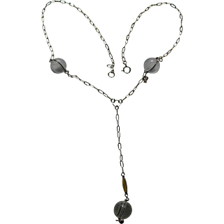 Vintage Clear Quartz Crystal Pools of Light Sterling Guilloche Necklace