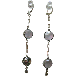 Long Dangling Double Pools of Light Quartz Crystal Sterling Earrings with Floral Bands
