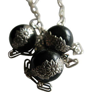 Unusual Vintage Black Onyx Pools of Light Flower Wrapped Sterling Necklace