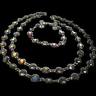 Signed Swarovski Silver Plate Aurora Borealis Crystal Bezel Necklace and Bracelet