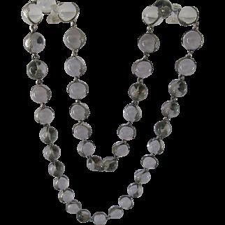 "Vintage Flapper Length 36"" Quartz Rock Crystal Pools of Light Silver Art Deco Necklace"