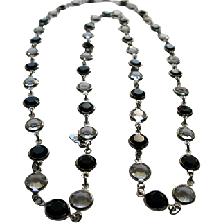 1980's Swarovski Signed Crystal Bezel Necklace in Clear/Black/Silver