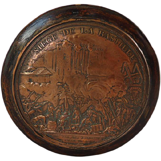 18th Century French Snuff Box Copper Engraved Siege of the Bastille