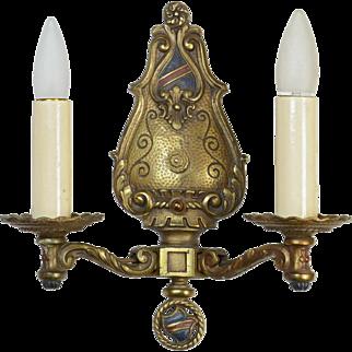 Cast Brass Tudor Sconce