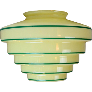 Green Striped Art Deco Glass Shade
