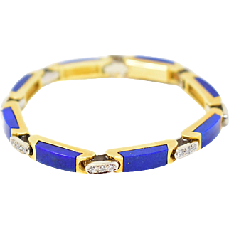 Alluring Tiffany & Co. Lapis Diamond Bracelet 18K Gold Circa 1970