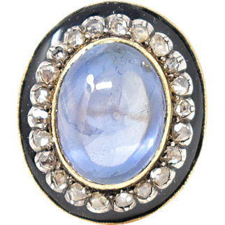 Lovely 14k Yellow Gold Victorian Enamel Sapphire Rose Cut Diamond Ring