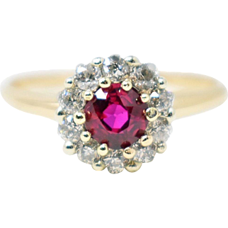 Delightful 18K Gold Victorian Ruby Diamond Cluster Ring