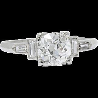 Graceful Platinum Art Deco Diamond Engagement Ring