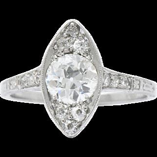 Refined Platinum Art Deco Diamond Alternative Engagement Ring