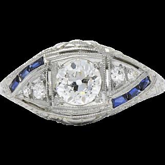 Intricate Platinum Art Deco Diamond Sapphire Filigree Ring