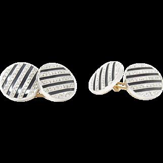 Art Deco J.E. Caldwell Diamond, Onyx, and Platinum Cufflinks