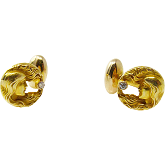 Art Nouveau 14k Yellow Gold Diamond Ladies Cufflinks