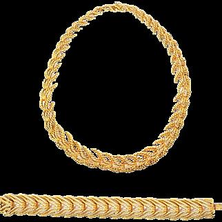Vintage French Tiffany & Co. 18K Gold Necklace & Bracelet Set