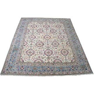 7.9' x 10.1' Persian, wool, Hand-knotted Kashan, floral motif Rug