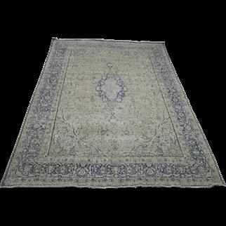 9.5′ X 13.5′  Hand made, persian, Kerman, stone wash, persian, vintage rug