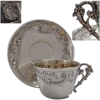 Antique 1880s French embossed sterling silver coffee cup & saucer of Rococo style with a satyr's figure