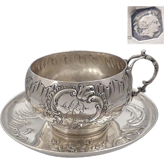 Large antique 1890s French sterling silver embossed tea cup & saucer 8,55 oz by Louis COIGNET (Active 1889-1893)
