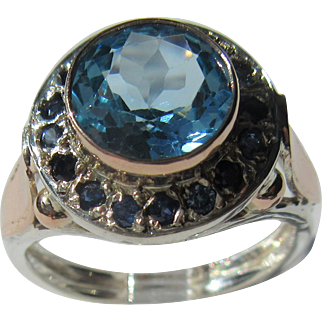 Sterling Silver and 9 kt Pink Gold Round Blue Topaz and Multi Sapphire Ladies Ring