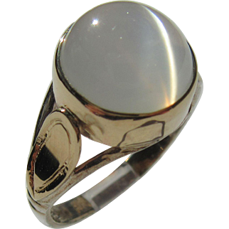 Sterling Silver and 9 kt Yellow Gold Round Grey Moonstone Ladies Ring