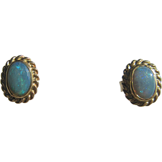 14kt Yellow Gold Vibrant Blue Fiery Oval Opal  Stud Earrings with Post/Butterfly Closure