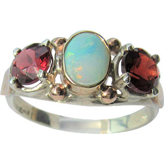 Sterling Silver and 9 kt Pink Gold  Oval Opal and Vibrant Garnet Ladies Ring