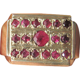Sterling Silver  Multi Ruby Unisex Ring