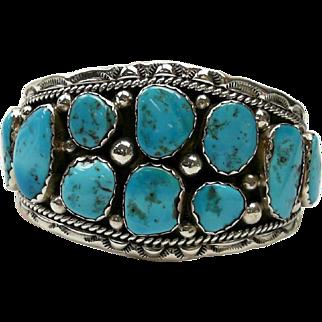 Beautiful Sterling Silver & Turquoise Heavy Cuff Bracelet 58.22 Grams