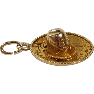 Vintage 14K Yellow Gold 3D Mexican Sombrero Hat Mexico Charm Pendant