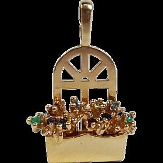 "14K Solid Yellow Gold ""Original Window Box"" Floral Gemstone Charm Pendant"