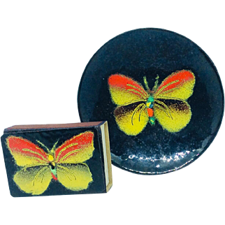 Vintage Mid Century Mod Enamel Copper Ashtray Matchbook Butterfly Dish Annikki Ranki Finland vanity trinket
