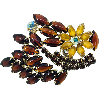 Vintage Big Rhinestone Brooch Root beer Citrine Color Navette Open Back Prong Set Welded Flower