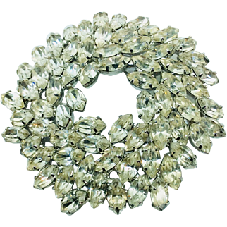 Vintage Rhinestone Brooch Clear Navette Prong  Stones Wreath over 60 Stones