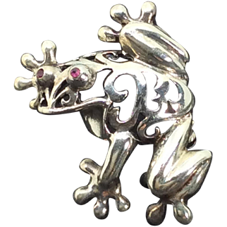 Vintage Frog Brooch Figural 3D Sterling Silver 925 Ruby Eyes Whimsical Pin