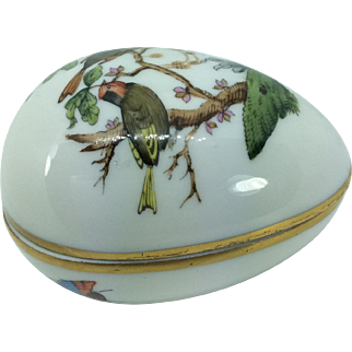 Vintage Herend Hungary Egg Trinket Box Birds Insects Butterfly Gold Trim Signed
