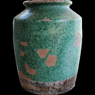 Antique European Green Terracotta Pot