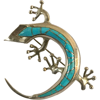 Native American Sterling Lizard Pin signed R L or R I