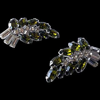 Stunning pair of Rhinestone B. David Clip-on Earrings