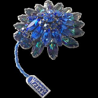 Dazzling Two-tone blue Weiss brooch
